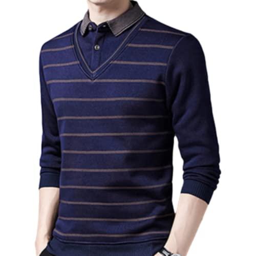 Jersey para Hombre, suéter Falso de Dos Piezas, Prendas de Vestir Exteriores térmicas, Raya, Negocios, Ocio, Informal, Color sólido, Talla Grande XXL