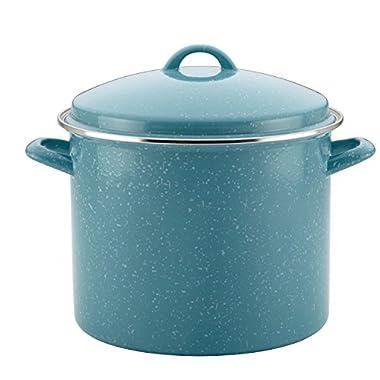 Paula Deen Enamel on Steel Covered Stockpot, 12 quart, Gulf Blue Speckle