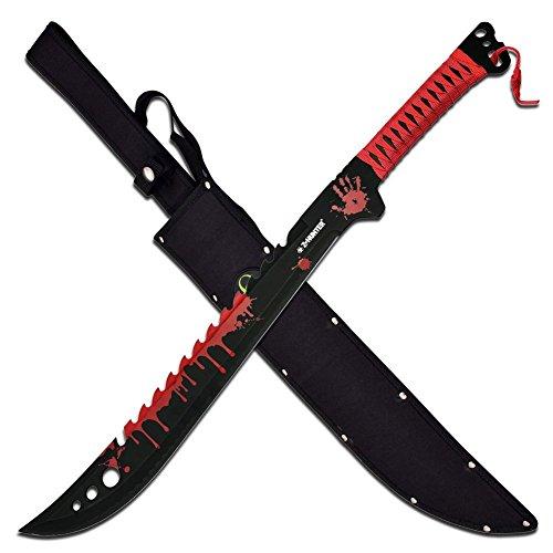Zombie Hunter Messer Full Tang Machete Buschmesser Bloodsplash Scheide ZB-124RD