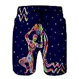 Xunulyn Men 's Board Short Shorts de baño de Secado rápido Beach Short Signo del Zodiaco Acuario Flores llenan el Cielo Estrellado Colorido Azul Oscuro