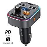 Transmisor FM Bluetooth 5.0 ieGeek, RGB 8 Colores Luz de Anillo, Aumento de Graves, Manos Libres PD3.0 Tipo C Carga Rápida & 5V 2.4A Carga, Hi-Fi Calidad de Sonido, Soporte Tarjeta SD, U Disk