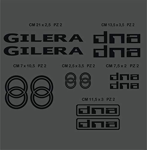 Adesivi Stickers GILERA Dna Kit 12 Pezzi -Scegli Colore- Moto Motorbike cod.0557 (Nero cod. 070)