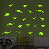 decalmile 20 Piezas Dinosaurio Pegatinas de Pared Fluorescencia Brillan en la Oscuridad Vinilos Decorativos Pared para Habitacion Bebe Dormitorios Infantiles