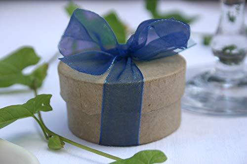 Die Seedball-Manufaktur Überraschungs-Seedball, Indigo, Naturfarbene Dose mit dunkelblauer Schleife, 5 cm im Durchmesser