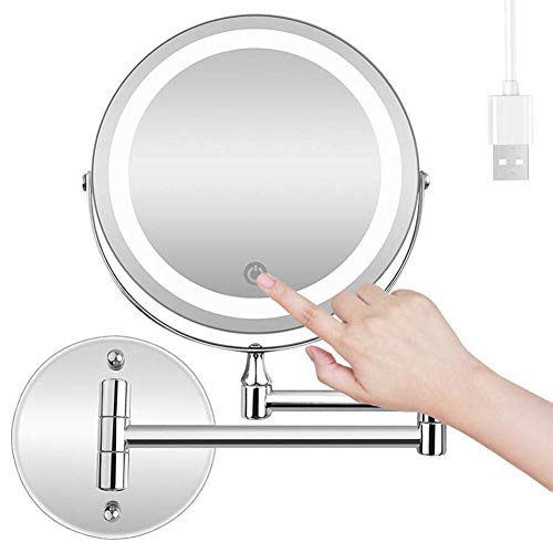 MRJ Espejo de Aumento de Pared 10X, Redondo de Pared Espejo de Baño Giratorio, Espejo de Maquillaje con luz LED, Extensible, Doble Cara giratoria de 360 °, 7 Pulgadas