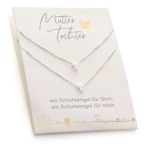 Himmelsflüsterer - Freundschaftskette Set | Mama Geschenke für Frauen & Töchter | Geburtstagsgeschenk für Frauen, Mama, Mutter Tochter | Geschenke für Mama - Silber Schutzengel