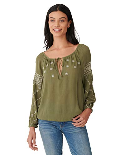 Lucky Brand Women's Long Sleeve Tie-Neck Embroidered Mix Media Peasant Top, Burnt Olive, S