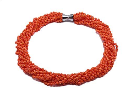 jyx korallenkette, rot 5,5 mm nine-strand orange runde Coral Halskette 63,5 cm