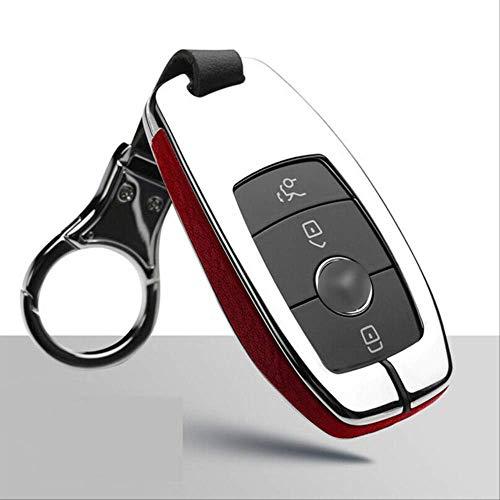 GGOII Coque de clé 1 Pcs en Alliage de Zinc + Housse en Cuir Clé De Voiture avec Porte-clés pour Mercedes Benz S/E-Classe A200 GLC AMG Argent Rouge