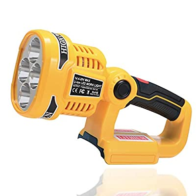 LUSAF Work Light for DeWalt 20V Max Lithium ion Battery, 12W 1120LM Flood Light with 90 Degree Pivoting Head, Replacement for DeWalt 20V Max LED Tool Light DCL043 Flashlight DCL040 (Tool Bare Only)