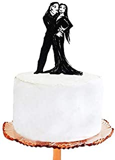 Cheyan Wedding Cake Topper Halloween Wedding Cake Topper Addams Family Morticia and Gomez Silhouette Cake Topper