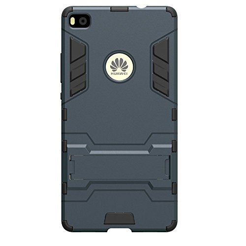 Huawei P8 Hülle, Huawei P8 Hülle Case,MHHQ Hybrid 2in1 TPU+PC Schutzhülle Rugged Armor Case Cover Dual Layer Bumper Backcover mit Ständer für Huawei P8 -Black Plus Gray - 3