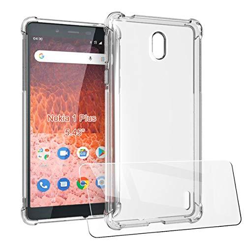"""LJSM Cover + Vetro Temperato per Nokia 1 Plus (5.45"""") - Custodia Transparente Shock Absorbing Anti-graffio Soft TPU Case Ultra Sottile con 4 Antiurto Angoli Rinforzati"""