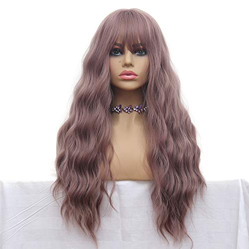 Long Wave Wigs Light Purple Mix Yellow Color Hair Thin Bangs Full Heat Resistant Synthetic Wig for Women 28 Inches Natural Curly Wave Air Bang Replacement Wig for Party Cosplay Body Wavy Grey Purple