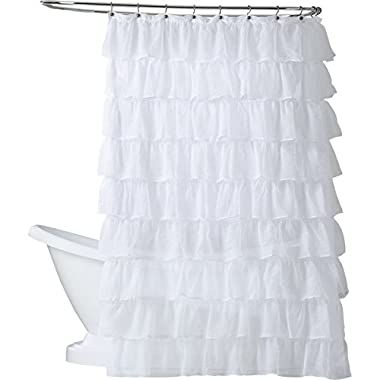 GoodGram Ultra Luxurious Gypsy Ruffled Crushed Sheer Layered Shower Curtain (White)