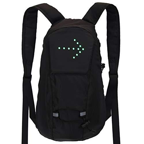 happygirr Mochila reflectante para bicicleta con luz LED y mando a distancia, resistente al agua, mochila deportiva, para exteriores