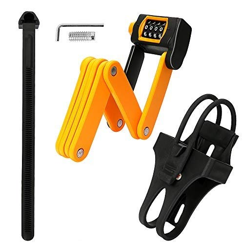 welltop Folding Bike Lock, High Security 4 Digit Resettable Combination Bike Lock, Heavy Duty Alloy Steel 8 Joints Anti-Theft Foldable Bicycle Lock with Mount Bracket and Tools, Orange