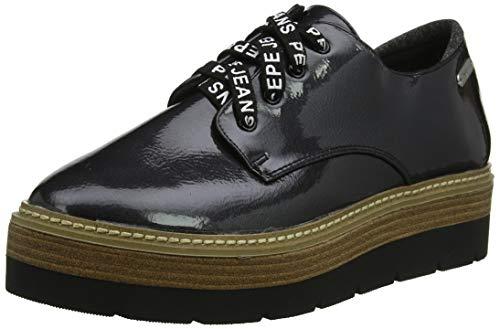Pepe Jeans London Luton Land, Zapatos de Cordones Derby Mujer, Black 999,...