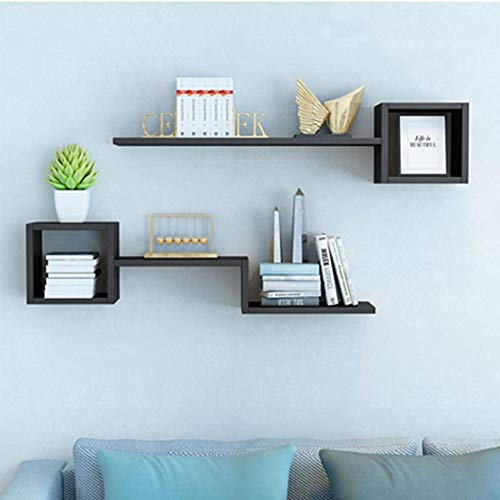 QSAA Home Storage Organizer Boekenkast Bewaar Beeld Ledge Plank Wandplank Wandopknoping Boekenkast Tv Achtergrond Wanddecoratie Wandopknoping Wandrooster [Zwart Walnoot] 1 Meter Lang