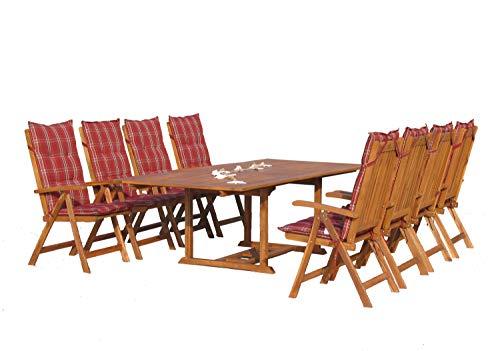 GRASEKAMP Qualität seit 1972 Garten Möbelgruppe Cuba 17tlg Rubin gestreift mit ausziehbaren Tisch