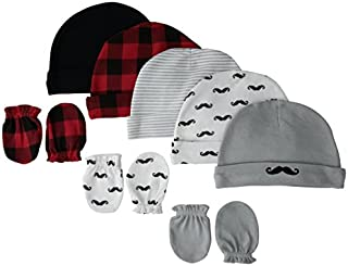 Hudson Baby Unisex Cotton Cap and Scratch Mitten Set, Mustache, 0-6 Months