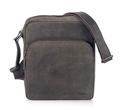 Sunsa klein Herren Leder Tasche, braune Ledertasche Umhängetasche/Schultertasche Crossbody bag, kleine Handtasche Herrentasche Vintage für Arbeit Reise Alltags, Geschenke für Männer