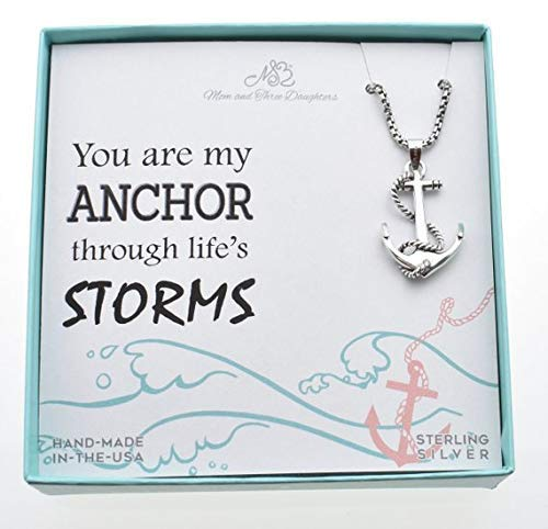Men's Anchor Necklace In Sterling Silver On a 20