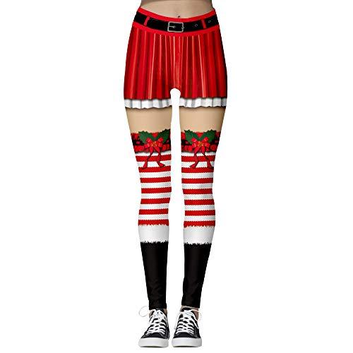 Damen Leggings Hose Weihnachten Streifen Muster 7/8, Morbuy Push Up Stretch Skinny Leggins Christmas Druck Casual Hippie Bequemer Frauen Trousers Sport Yogahosen Jogginghose (L,Rote Schleife)