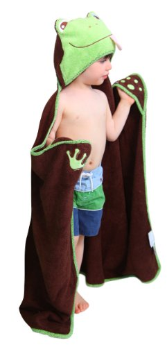 Hooded Toddler Towel Frog One of a Kind Extra Large 30'X54'Toddler/Child Animal Character Towel with Paws Designed by Frenchie Mini Couture