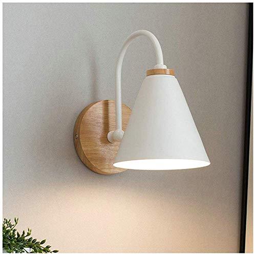 ZYLZL Lámpara de pared de noche decorativa de madera moderna, accesorios de iluminación de pantalla de hierro para dormitorio, sala de estar, pasillo, escaleras, pasillo,blanco