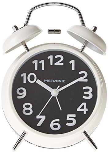 Metronic 477330 - Despertador Vintage, Cuarzo, silencioso, Doble Campana, Potente Alarma, con botón LED para iluminar la Esfera, Negro, pequeño