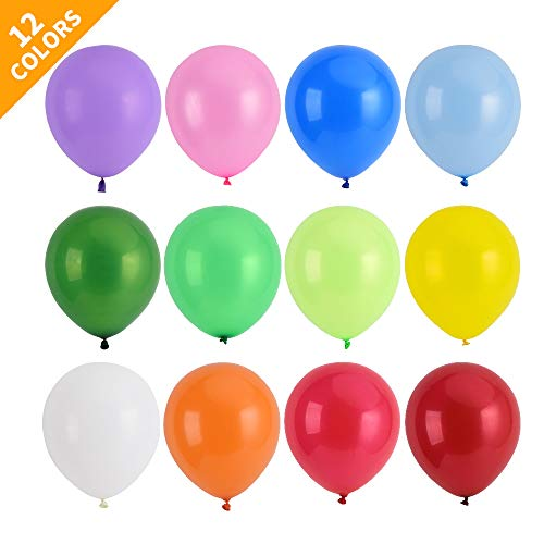 120 Colorful Latex Balloons, in 12 Assorted Colors, 12-inch Thicken High-end Party Balloons, for Party Decoration or Balloon Arch Decoration