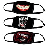 Kaneki Ken Face Mask 3PCs,Cosplay Props Black Mouth Mask Cotume Cotton for Party.