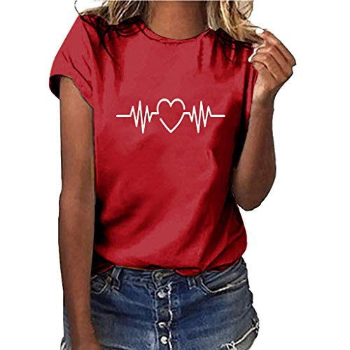 Dasongff Dames T-shirt Meisjes Teenagers zomer shirts losse katoen crop tops bovenstuk elektrocardiogram Graphic korte mouwen T-shirt Tees blouse Casual Joker korte mouwen tanktops zomertops XX-Large rood