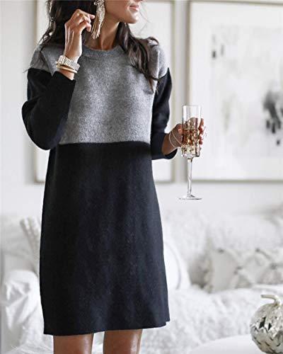 Langes Pulloverkleidherbst Und Winter Warm Casual Womens Pullover Kleider Nähen Lose...