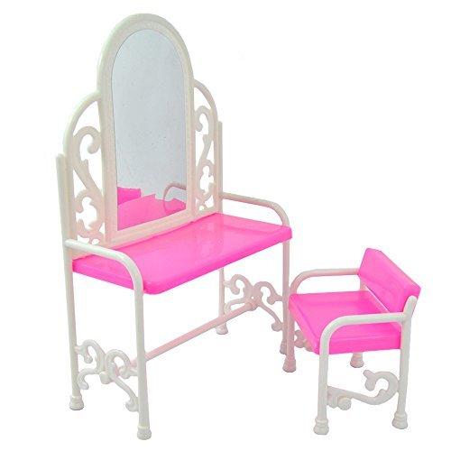 Metermall Home voor Yiding Fashion Kaptafel en stoel Set voor poppen Slaapkamermeubels