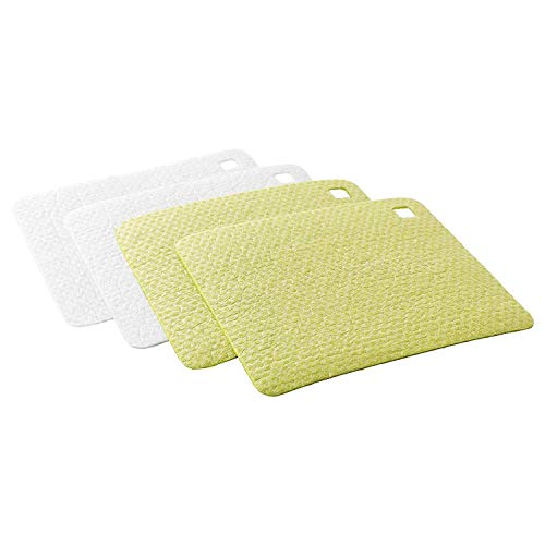 IKEA PLUSSIG Swedish Dishcloth Sponge Cloth Pack of 4 (2 Green, 2 White) Eco-Friendly Absorbent Reusable Dish Sponge Cloth Hand Towel For Kitchen, House Cleaning