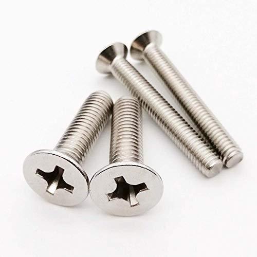 50st M1 M1.2 M1.4 M1.6 M2 M2.5 M3 M4 Mini Micro Small Zwart 304 Roestvrij staal Cross Flat Verzonken kop Schroefbout, 304 roestvrij staal, M3