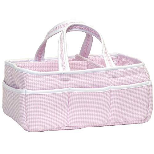Pink Gingham Seersucker Nursery Diaper Storage Caddy - Portable Organizing Fabric Tote Bag