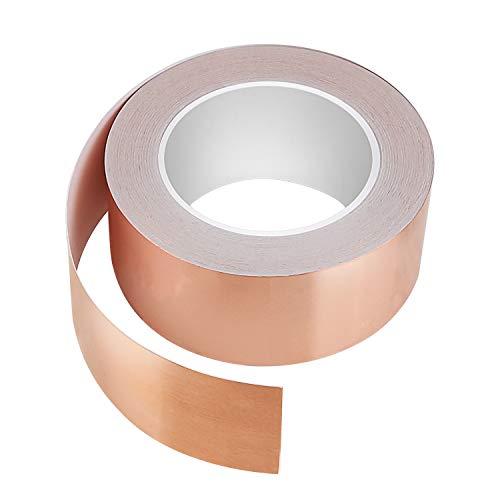 Kupferfolie Kupferband EMI Kapton Tape - 50mmx30M Klebeband Selbstklebend Abschirmband Kupferfolie Klebeband Schneckenband Kupfer Schneckenschutz Schneckenzaun