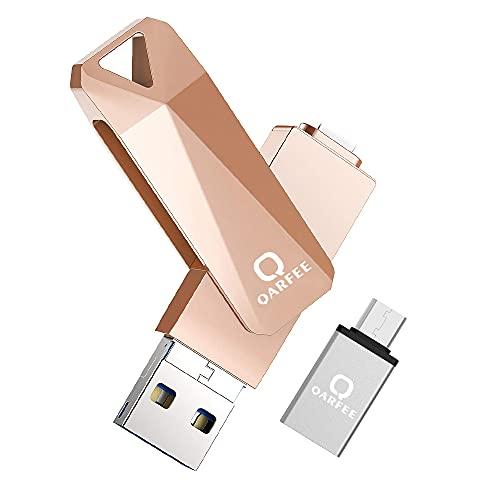 Clé USB 128 Go pour iPhone iPad iOSAndroid Computer, QARFEE 4 in 1 USB 3.0 Mémoire Photo Stick Pendrive pour Smartphone Tablette PC Macbook (Or)