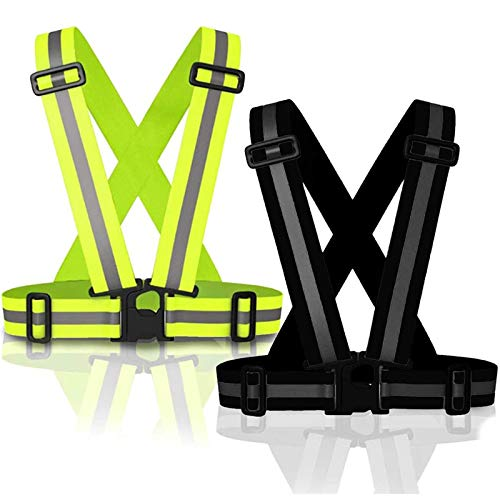WENTS hochwertige Sicherheitsweste 2PCS Reflektorweste Warnweste Praktische größenverstellbare Reflektorweste für das Fahrrad Auto und Motorrad Warnweste zum Laufen und Joggen