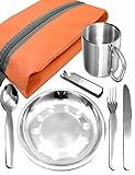 Outdoor Saxx–Completo Outdoor Picnic Juego | Plato de Acero Inoxidable + Camping Cubiertos Cuchillo Tenedor Cuchara + Taza de Acero Inoxidable + Funda | 7Piezas