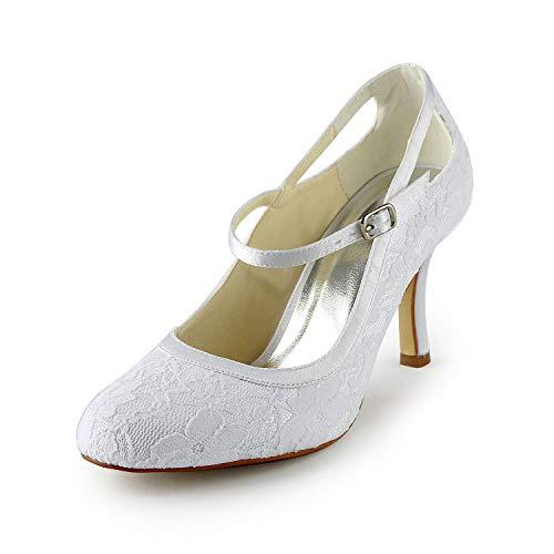 JIA JIA Wedding 3113 Scarpe Sposa Scarpe col Tacco Donna Bianco, EU 39