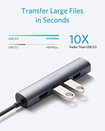 USB C Hub Anker 5-in-1 Premium USB C Datenhub mit 1 HDMI Output, 1 Ethernet Port und 3 USB 3.0 Ports für 10 / 100 / 1000 Mbps, für MacBook Pro 2016 / 2017, ChromeBook, XPS und viele mehr