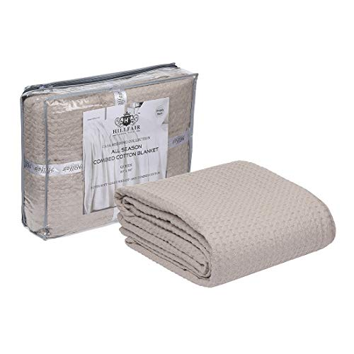 HILLFAIR 100% Combed Cotton Blanket Twin Size Bed Blankets Warm Soft All Season Breathable Lightweight Summer Blankets Waffle Weave Home Decor Bed Blanket- Beige Twin Bed Cotton Blankets/Bedcovers