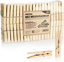 com-four® naturbelassene Wäscheklammern aus Holz - Nachhaltige Holzklammern - unbehandelte Holzwäscheklammern zum...