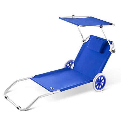 lettino prendisole con ruote Deuba Casaria Lettino Prendisole Kreta in Alluminio Tetto Sdraia Pieghevole trasportabile 150x52 cm Blu