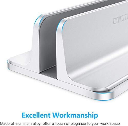 Vertical Laptop Stand Holder, OMOTON Desktop Aluminum MacBook Stand with Adjustable Dock Size, Fits All MacBook, Surface, Chromebook and Gaming Laptops (Up to 17.3 inches), Silver Photo #6