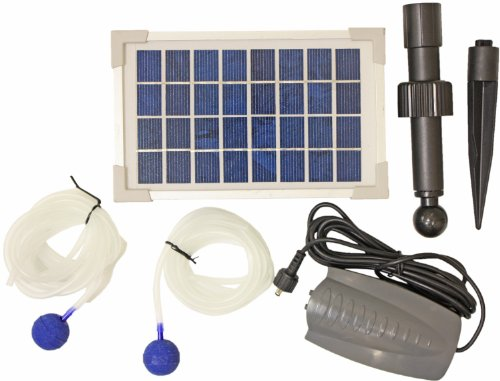 Woodside Solar Oxygenator Air Pump for Pond - 2.5W Aerator 2 Air Stone Oxygen Pump for Garden, Aquarium Fish Tank